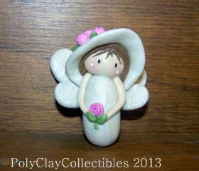 Angel - Hat with Roses - Brooch Pin - Keepsake - Collectibles