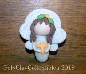 Angel Holding Cross - Polymer Clay -- Handmade Keepsake - Collectible - Brooch - Pin