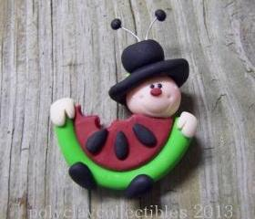 Mr Ladybug Eats Watermelon -Polymer Clay - Pin - Cupcake Topper