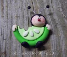 Ladybug Holding Honeydew Watermelon - Polymer Clay - Pin - Brooch