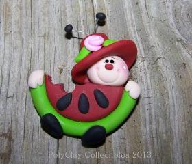 Mrs. Lily Ladybug Eating Watermelon - Polymer Clay - Brooch